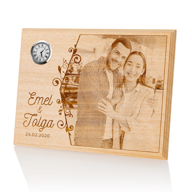 Sevgiliye Yıldönümü Hediyesi Saatli Ahşapfoto