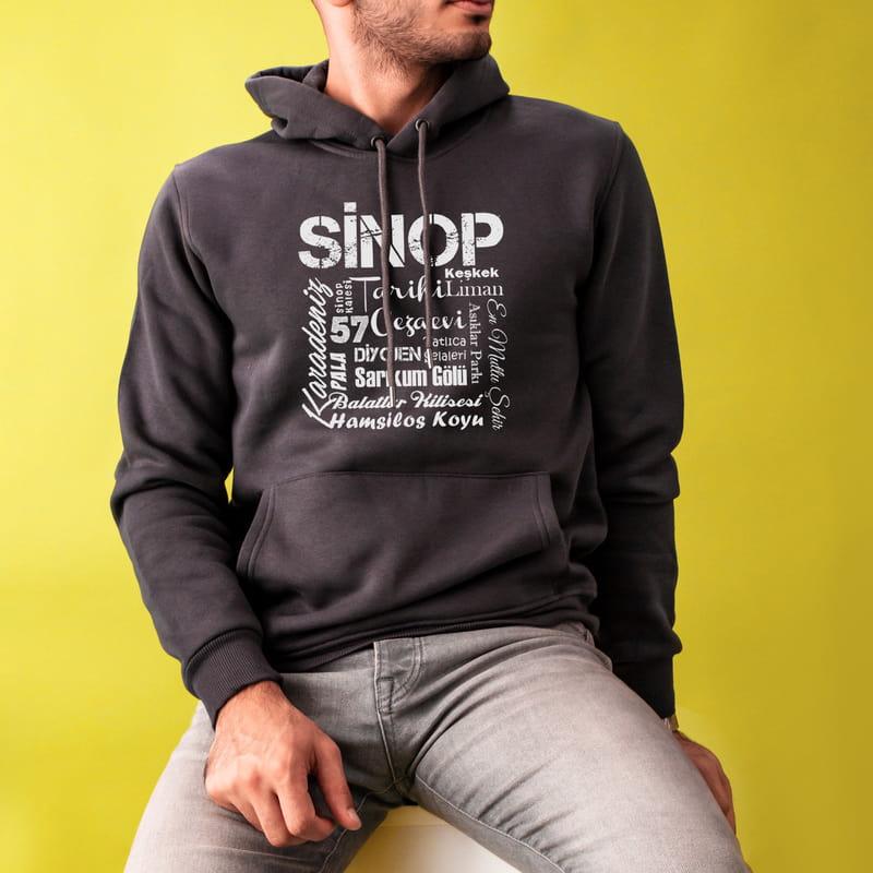 Sinoplulara Özel Tasarımlı Kapşonlu Sweatshirt