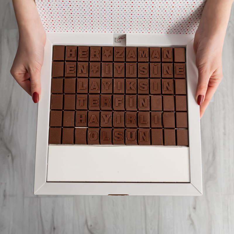Terfi Hediyesi Mesajlı Harf Çikolata