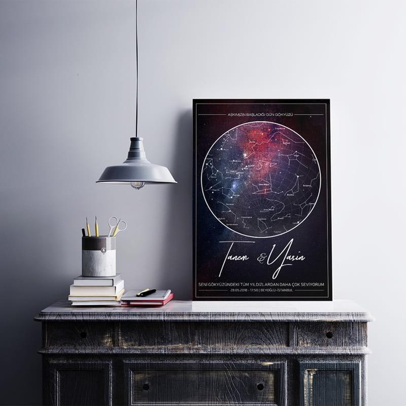 Yıldız Haritası Galaksi Tasarımlı Kanvas Tablo 40x60
