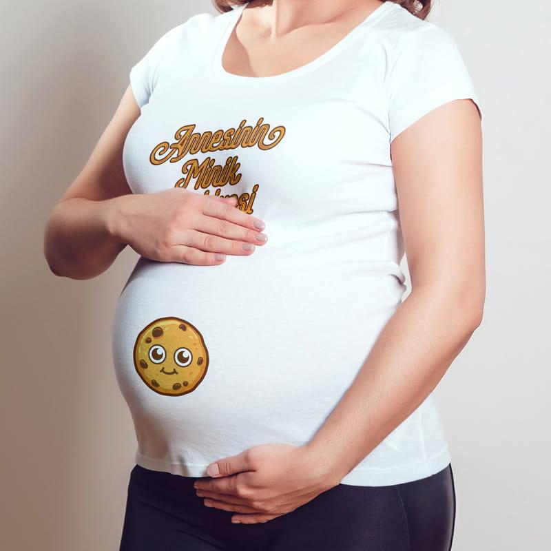 Annesinin Minik Kurabiyesi Tasarımlı İlk Anneler Günü Hediyesi Hamile Tişörtü
