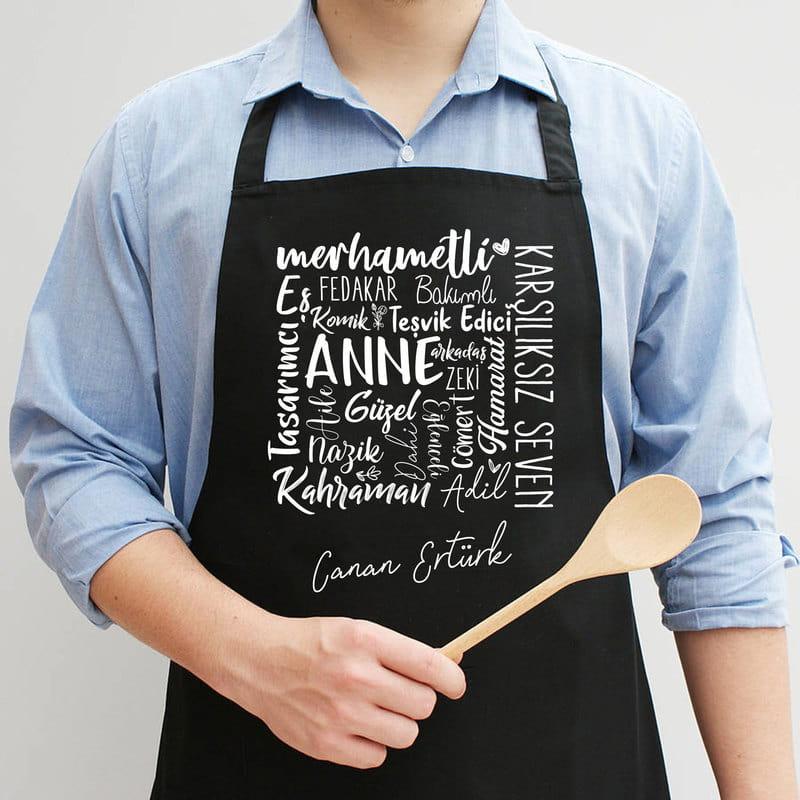 Anneye Hediye İsim Yazılı Mutfak Önlüğü