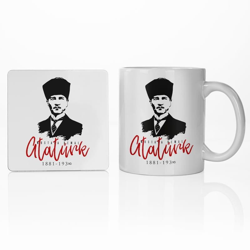 Arkadaşa Hediye Mustafa Kemal Atatürk Porselen Kupa ve Altlık Seti