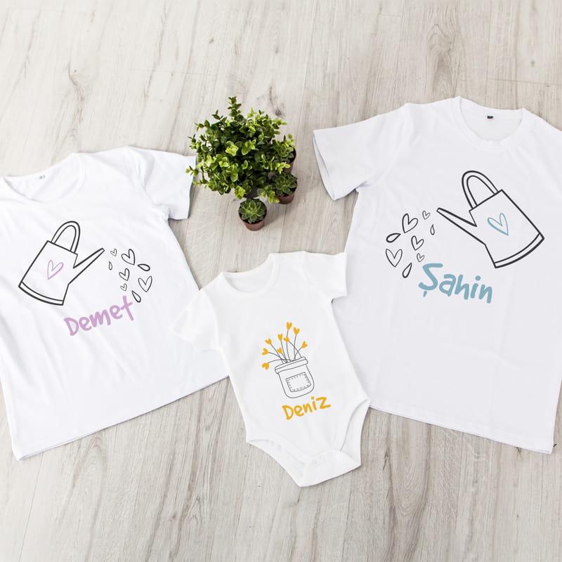 Aşkımızın Meyvesi 3 lü Aile Tişört Bebek Body Kombini