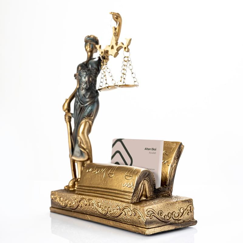 Avukata Hediye Kartlıklı Adalet Tanrıçası Heykeli
