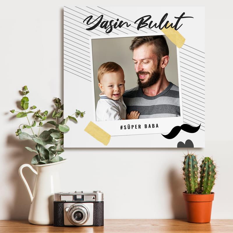 Babaya Hediye Özel Tasarımlı Kanvas Tablo 40x40