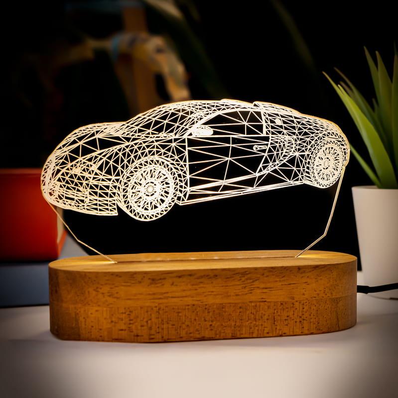 Bugatti Veyron Tasarımlı 3 Boyutlu Optik İllüzyon Gece Lambası