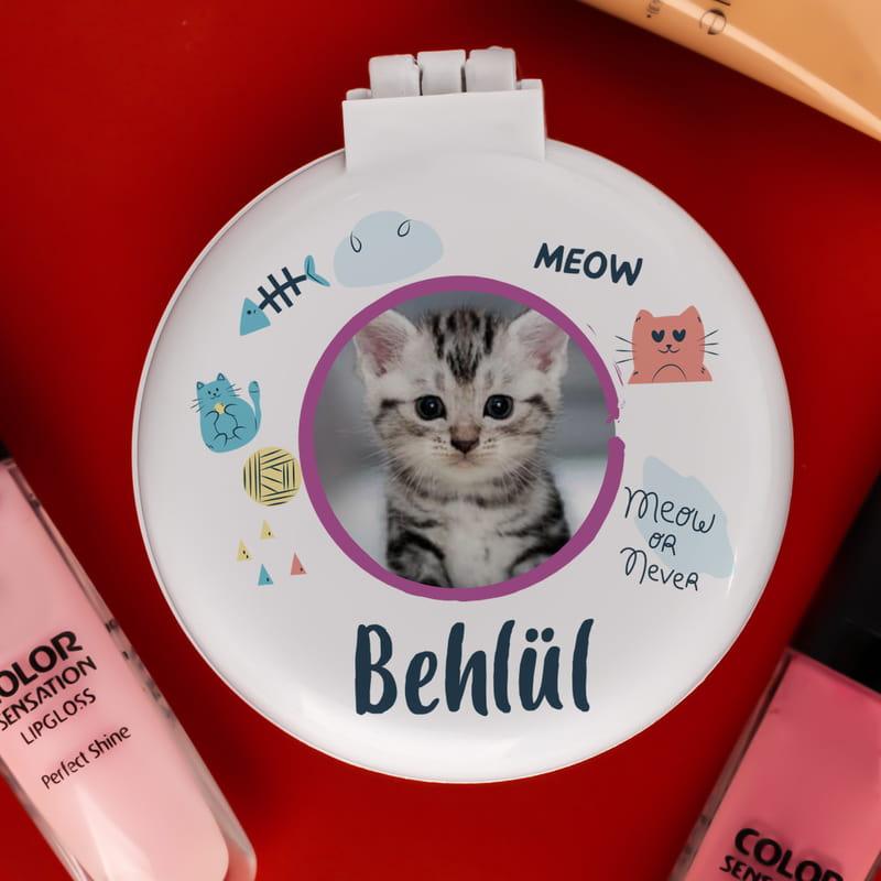 Cats Lover Fotoğraf ve İsmi Baskılı Taraklı Makyaj Aynası