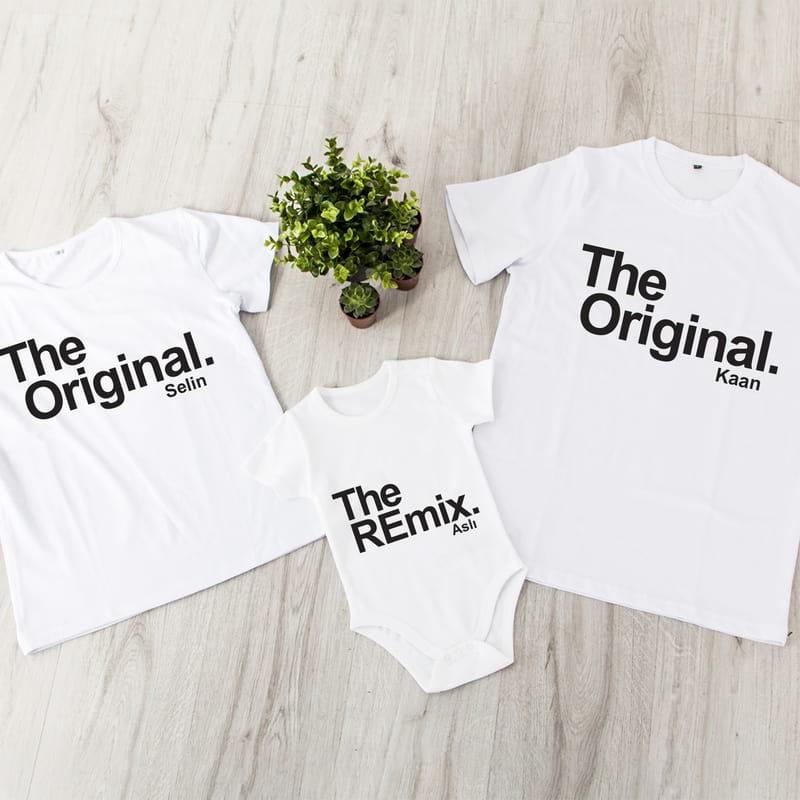 Eğlenceli İsim Yazılı 3 lü Aile Tişört Bebek Body Kombini