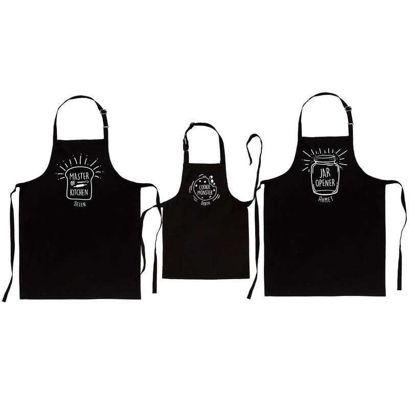 Esprili İsme Özel 3 lü Aile Mutfak Önlüğü Kombini
