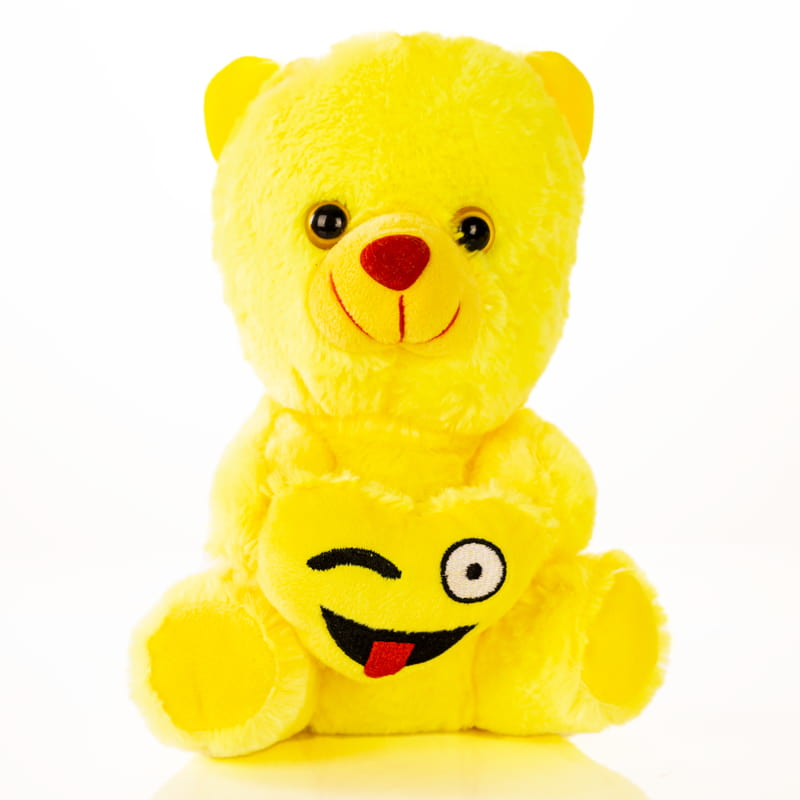 Göz Kırpan Kalp Emoji Tutan 20 Cm Sarı Peluş Ayıcık