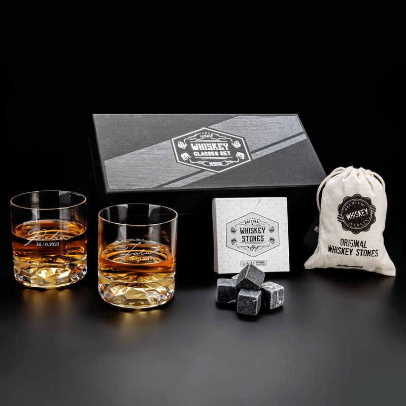 İmza Tasarımlı Kutuda Kişiye Özel 2 li Chicago Viski Kadeh Seti