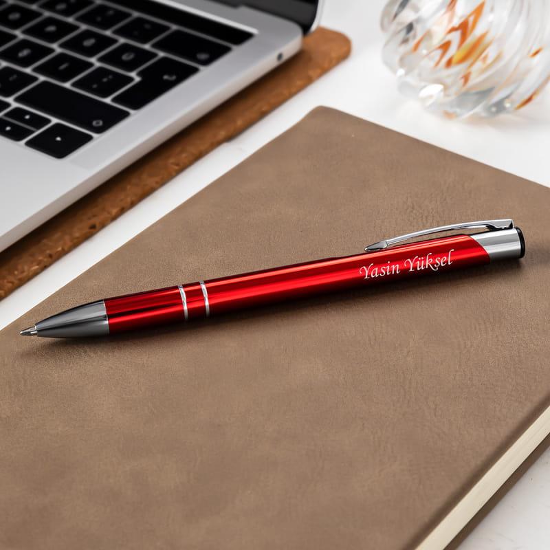 İsim Yazılı Kırmızı Özel Kutulu Tükenmez Kalem
