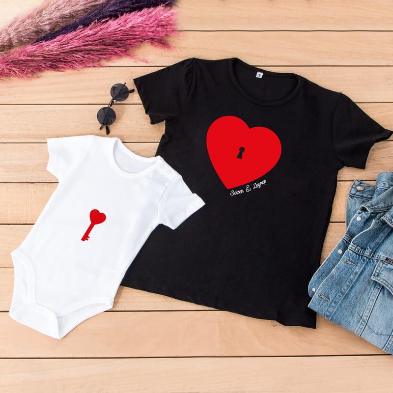 Kalbimin Anahtarı Tasarımlı Anne Çocuk Tişört Body Kombini