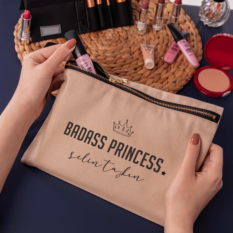 Kişiye Özel Badass Princess Kanvas Makyaj Çantası