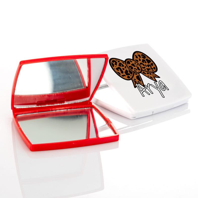 Leopar Fiyonklu Kişiye Özel Makyaj Aynası