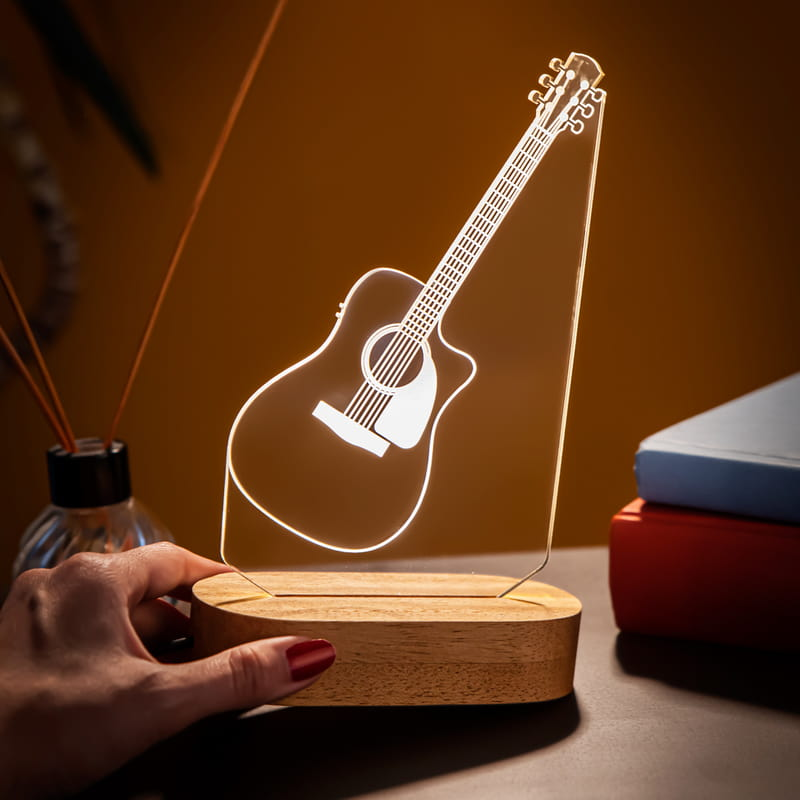 Müzik Severe Hediye Klasik Gitar 3D Led Lamba