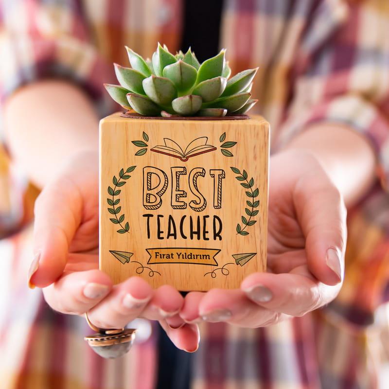 Öğretmene Hediye İsme Özel Saksılı Sukulent Naturacube