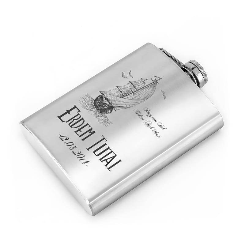 Paslanmaz Çelik Kanyak Matarası - Yelken Desenli