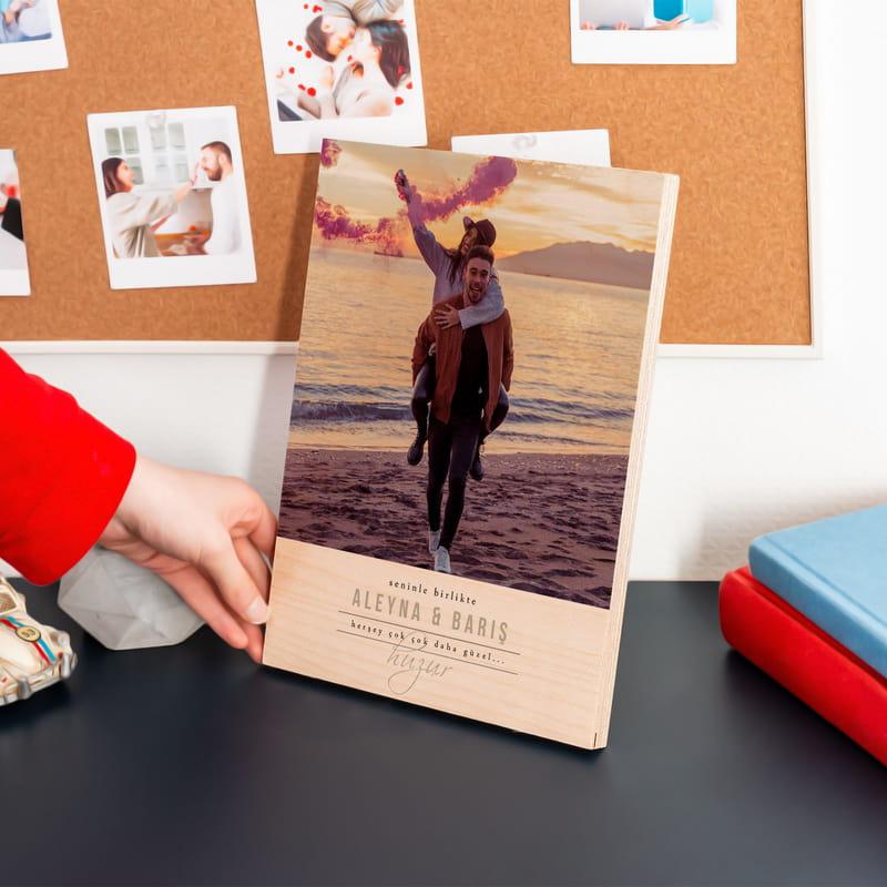 Sevgiliye Hediye Fotoğraf Baskılı Minimal Ahşap Plaka