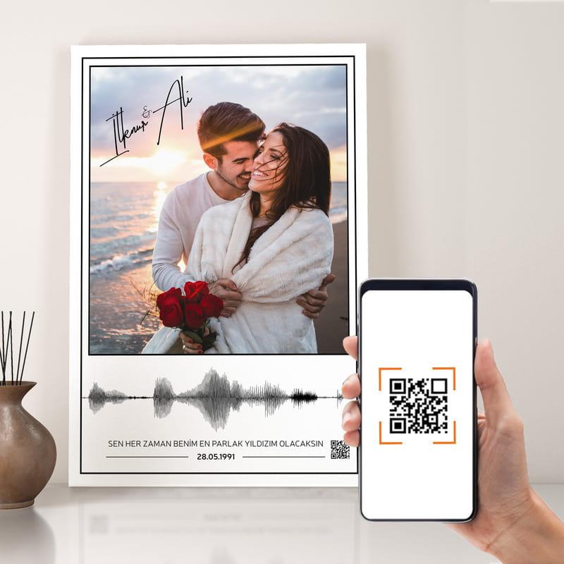 Sevgiliye Hediye Fotoğraf Baskılı Sesli Kanvas Tablo 40x60