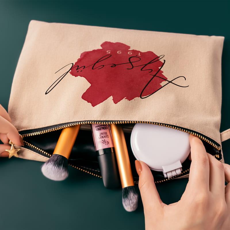 Suluboya Tasarımlı Kişiye Özel Kanvas Makyaj Çantası