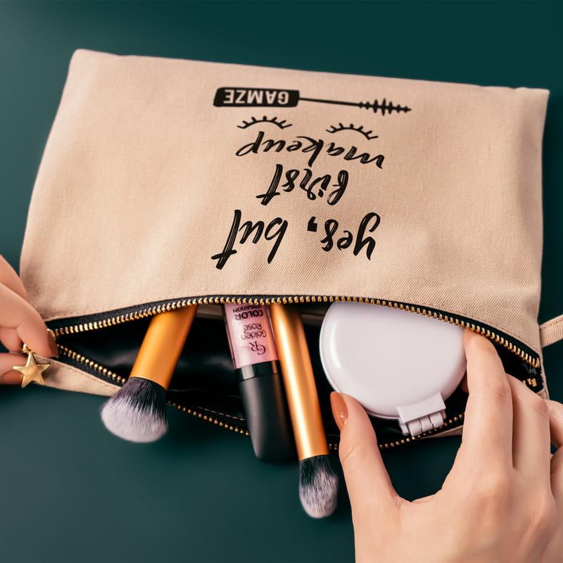 Yes, But First Makeup İsim Yazılı Kanvas Makyaj Çantası
