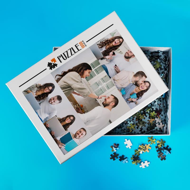 1000 Parça 5 li Fotoğraf Kolajlı Puzzle Kutulu