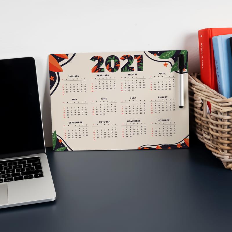 2021 Takvimli Silinebilir Kalemli Ahşap Planlayıcı