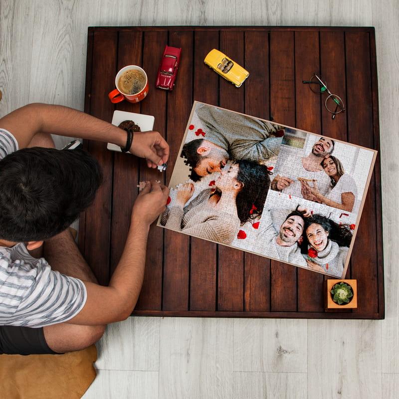 500 Parça Kişiye Özel Üç Fotoğraflı Kutulu Kolaj Puzzle