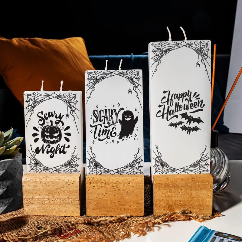 Arkadaşa Hediye Halloween Tasarımlı 3 lü Mum Seti