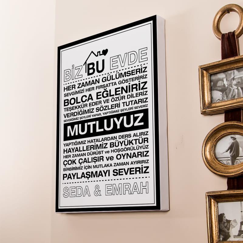 Bu Evde Mottolu Ev Dekorasyonu Kişiye Özel 30x40 Kanvas Tablo