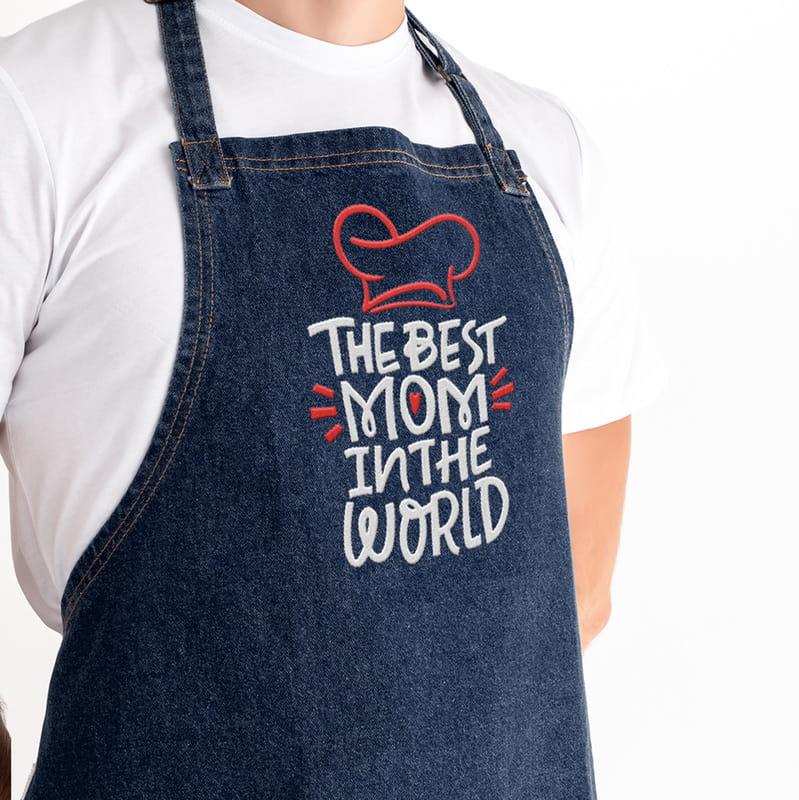 Dünya nın En İyi Annesine Hediye Kot Mutfak Önlüğü