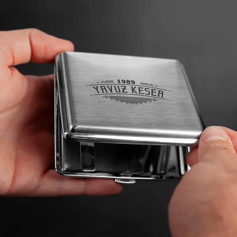 Erkeğe Hediye İsim Yazılı Metal Sigara Tabakası