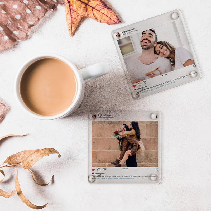 Fotoğraflı Sosyal Medya Tasarımlı Hatıralık Bardak Altlığı Seti