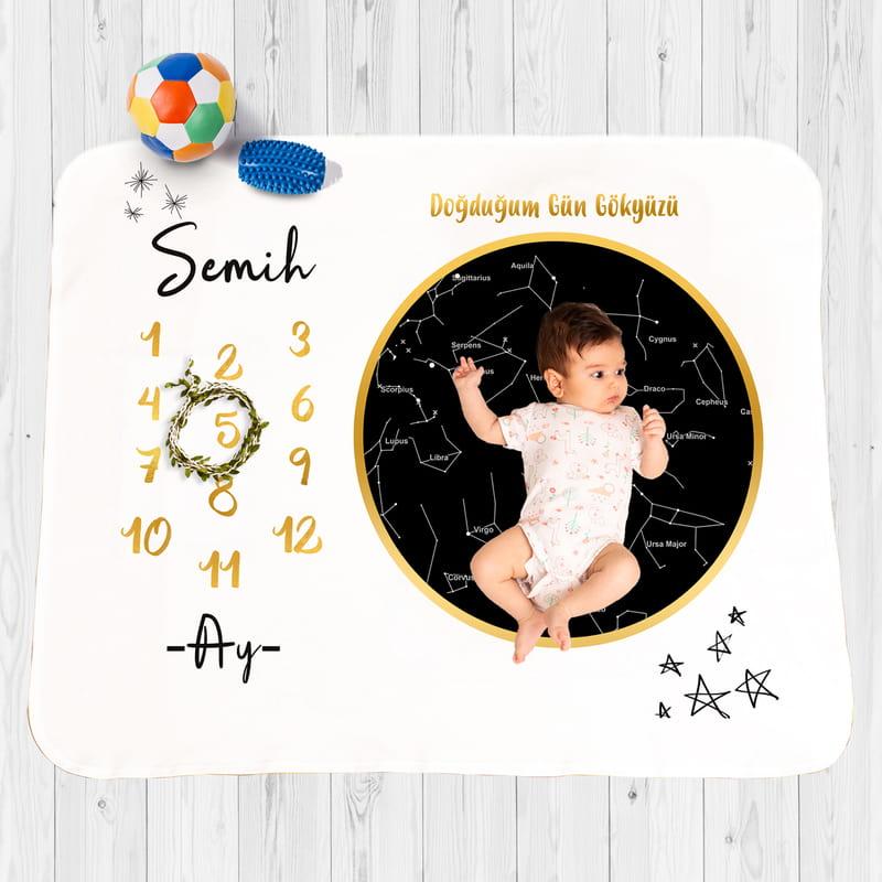 İsme Özel Bebeğinizin Doğduğu Gün Yıldız Haritası Baskılı Battaniye