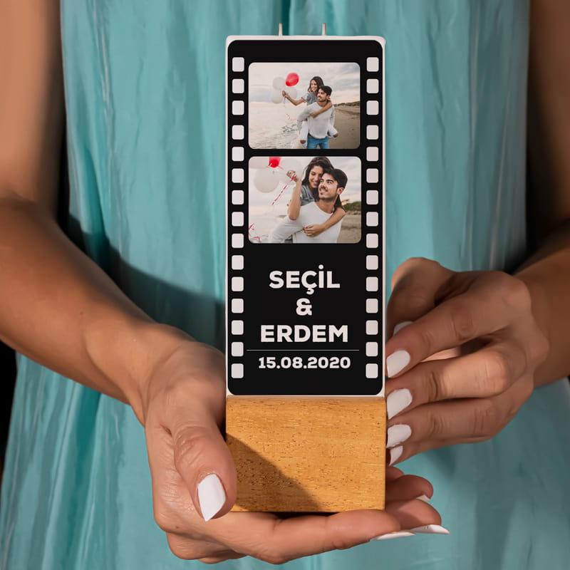 Kişiye Özel Fotoğraf Baskılı Film Şeridi Mum
