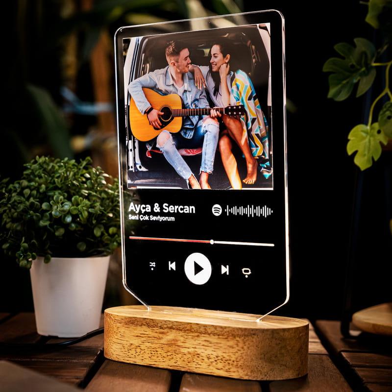 Kişiye Özel Spotify Tasarımlı Fotoğraflı Led Lamba