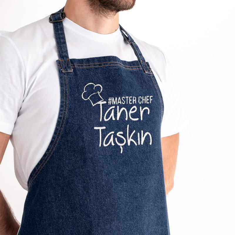 Master Chef Nakış İşlemeli Kot Aşçı Önlüğü