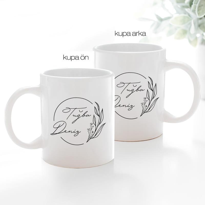 Minimal Tasarımlı İsme Özel Hediye Kahve Kupası