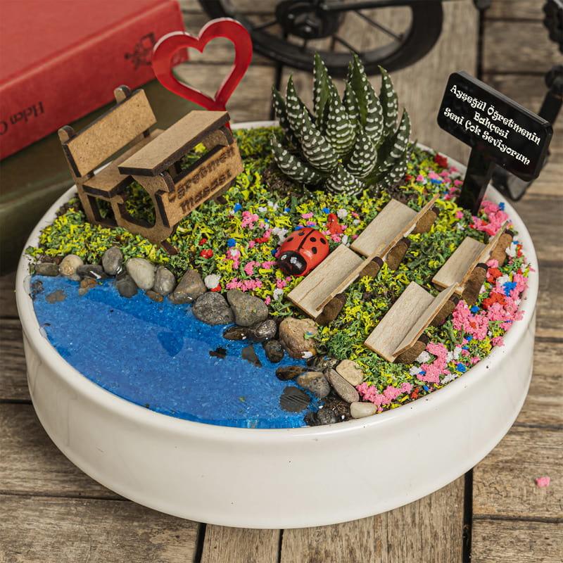 Öğretmen Sevgiliye Hediye Canlı Minyatür Bahçe