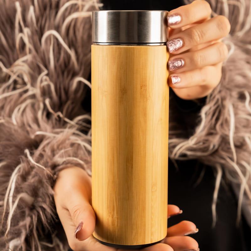 Retro Tasarımlı Kişiye Özel Filtreli Kapsül Bambu Termos