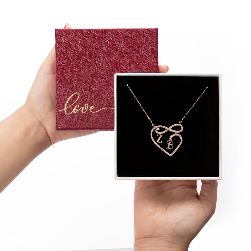 Sevgiliye Hediye Kişiye Özel Harfli Kalp Sonsuzluk Gümüş Kolye