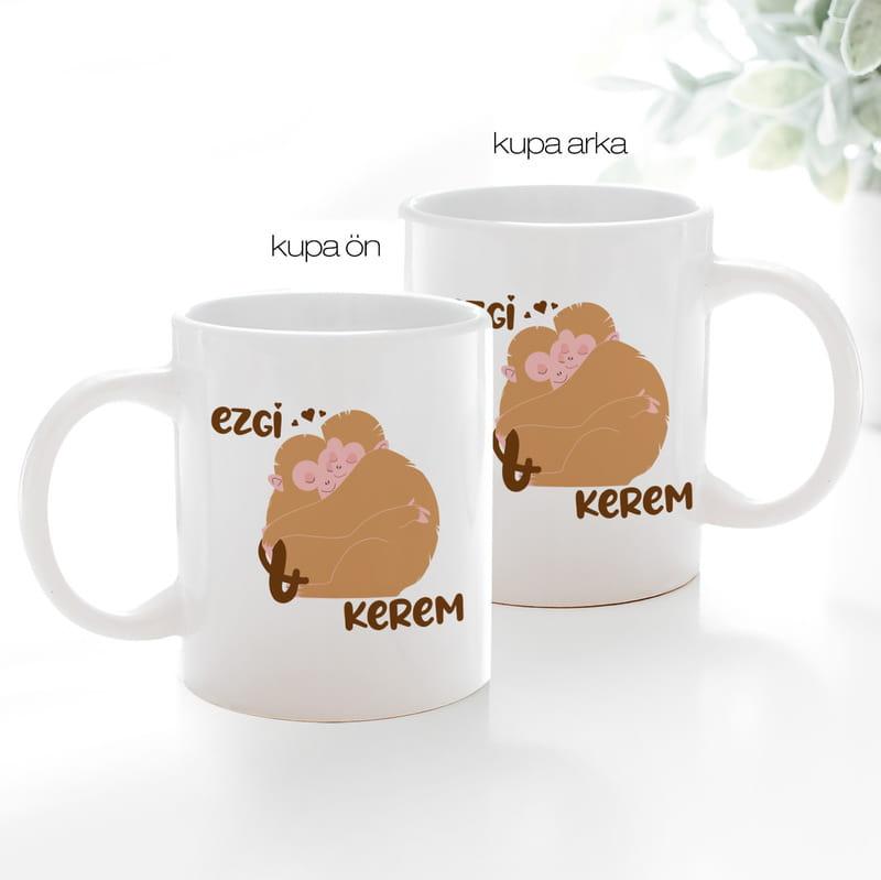 Sevgiliye Hediye Sarılan Aşık Maymunlar Kahve Kupası