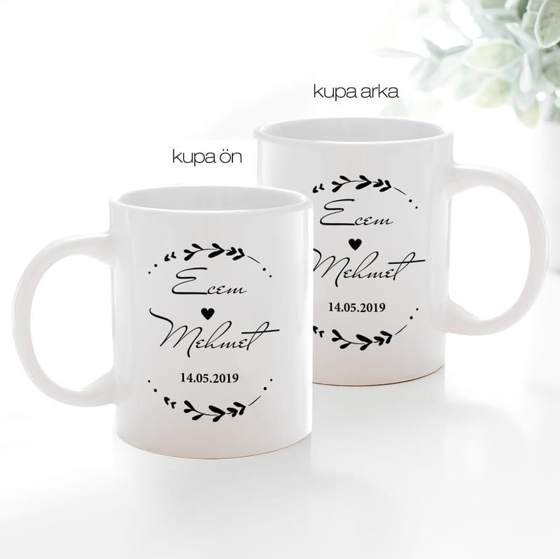 Sevgiliye Yıldönümü Hediyesi İsim Yazılı Kahve Kupası