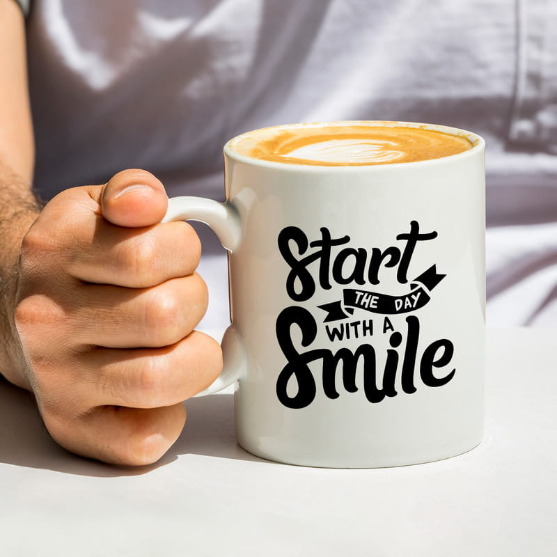Star The Day With A Smile Motivasyon Porselen Kahve Kupası