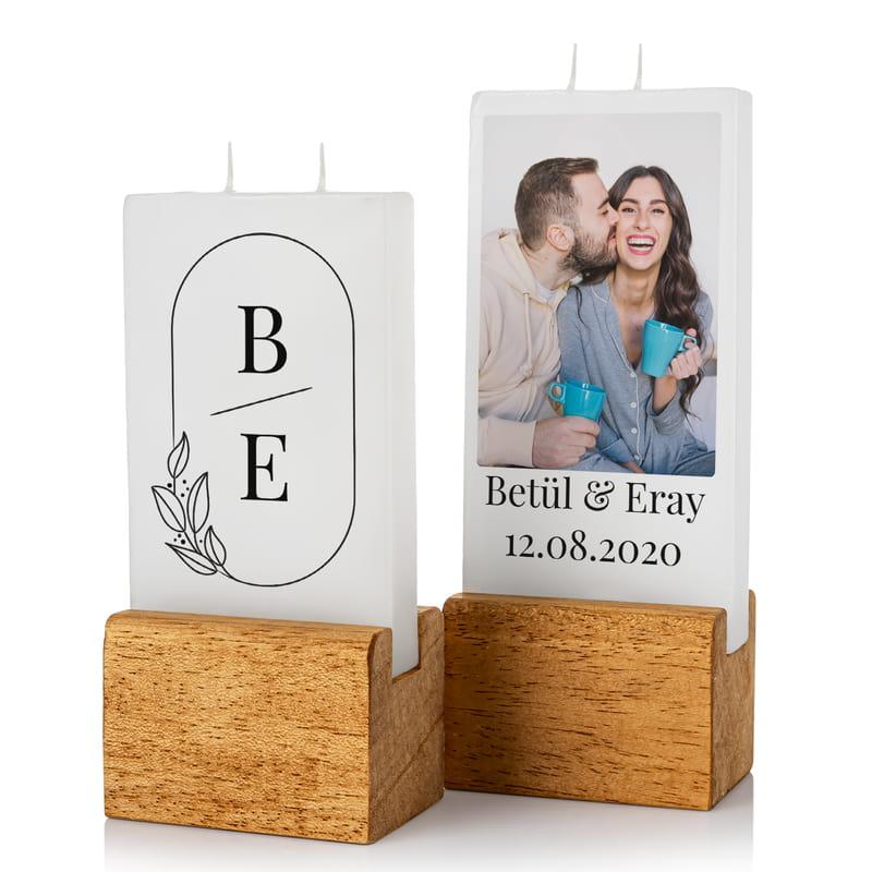 Yeni Evli Çiftlere Ev Hediyesi Fotoğraf Baskılı Dekoratif Mum Seti