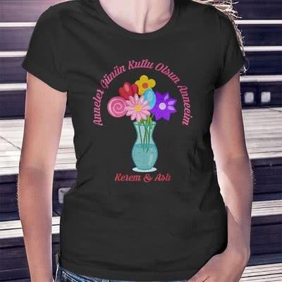 Anneler Günü Hediyesi Çiçek Buketi Tasarımlı Tişört