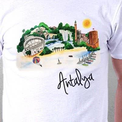 Antalya Şehrine Özel İllüstrasyon Desenli Tişört