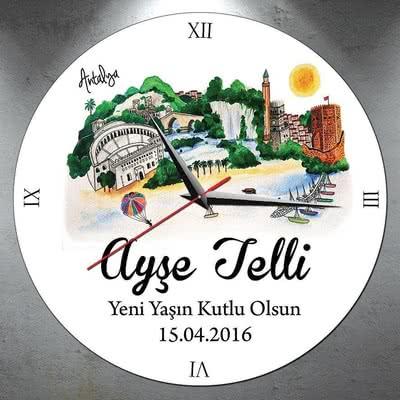 Antalya Tasarımlı İsimli Duvar Saati